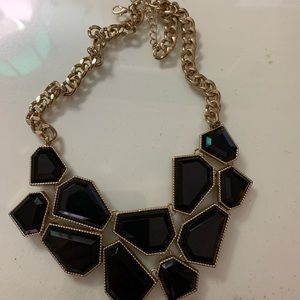 F21 Black and Gold Geometric Statement Necklace